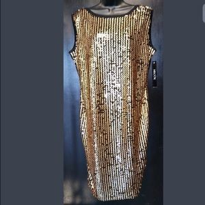 Misook Sequins Black Gold Sleeveless Party Dress